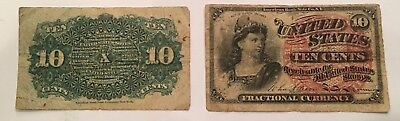 US 10c Fractional Currency 4th Issue 1259, 2 bills