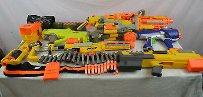 Huge lot of Nerf guns and accessories 12 items plus darts Vulcan EBF 25 bundle