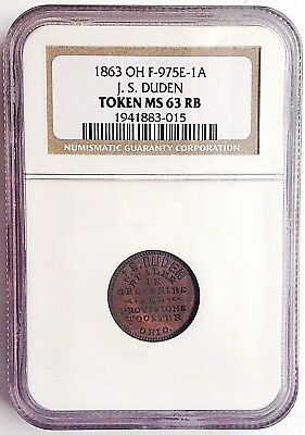 1863 CWT WOOSTER,OHIO, J. S. DUDEN, DEALER IN GROCERIES, NGC MS63 RB, 975E-1a