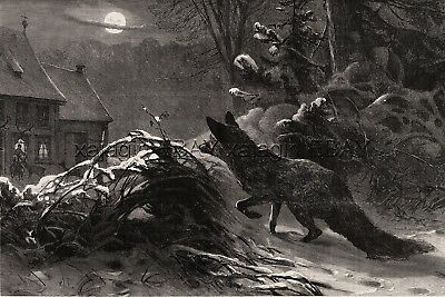 Fox Watches Farmer Feed Friendly Deer on Winter Night, Large 1880s Antique Print