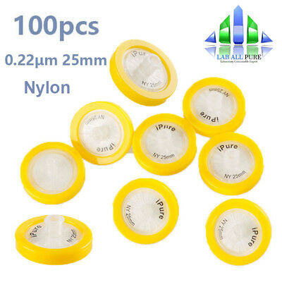 100pcs Nylon Syringe Filter 0.22μm Pore size ⌀25mm PP Prefilter non-sterilized