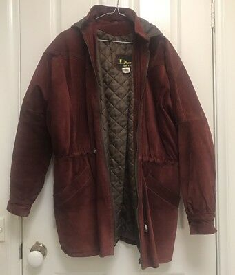 VINTAGE Suede Leather Jacket Size S / 10 - Red Maroon Winter Coat