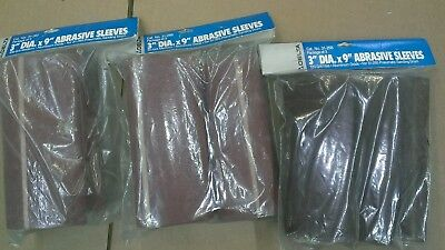 """Delta 3""""X9"""" Pneumatic Sanding Drum sleeves with 80,100 & 120 sleeves 3packs  NOS"""