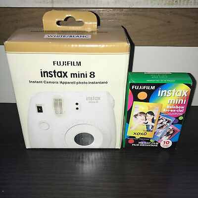 Fujifilm Instax Mini 8 Instant Film Camera ~ WHITE ~ NEW IN BOX ~ With Film