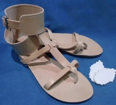 Gladiator Leather Sandals BNWOT Handmade In Greece in Tan Nude size 38