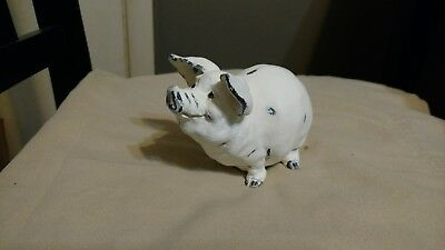 farmhouse country pig white and distressed heavy ceramic