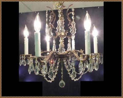 Vintage Antique French Brass Chandelier Superb Crystals Stunning Light Fixture!
