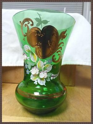 Vintage Hand Painted Painted BOHEMIAN CZECH Art Glass Vase Antique Green Gold