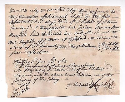 VERY RARE 1759 Native American INDIAN Document, CT Mansfield, Coventry, Ashford