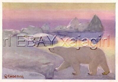 Polar Bear White Bear at Dawn, Exquisite Edwin Deming Antique Wildlife Print