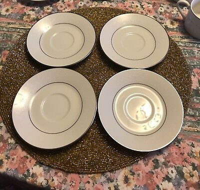 Four Noritake Thule Embossed Floral Lace Rim Platinum Trim White Saucers