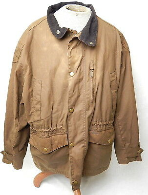 Barbour International Waxed Cotton Mens Trapper Summer Jacket Coat Brown 2XL 48