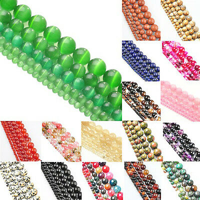 DIY Stone Natural Gemstone Round Spacer Loose Beads Jewelry 4mm 6mm 8mm 10mm 12m
