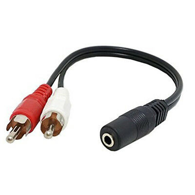 3.5mm Stereo Female to 2 Male RCA Jack Adapter AUX Audio Y Cable Splitter