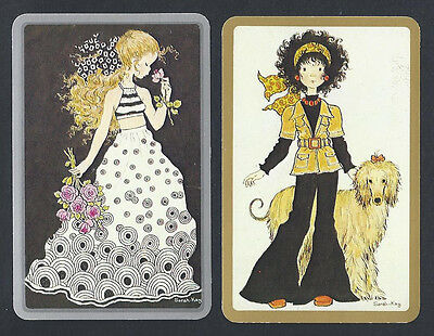 #920.323 Vintage Swap Card -MINT pair- Sarah Kay, Girl in spots & Girl with dog