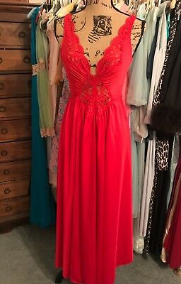 """Vintage Olga Body Silk Nightgown Red Lingerie 186"""" Sweep Sz S Lace Inset #92270"""