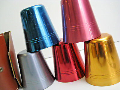 Vintage Anodized Travel Cups Drinks Camping Caravan Great Condition With Opener