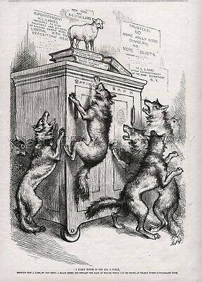 Wolves Vs. Lamb, Banking Building & Loan Thrift 1880s Antique Print Thomas Nash