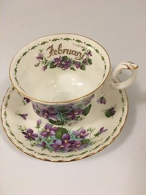 "Royal Albert ""February"" Flower Of The Month ""Violets"" Bone China Cup & Saucer"