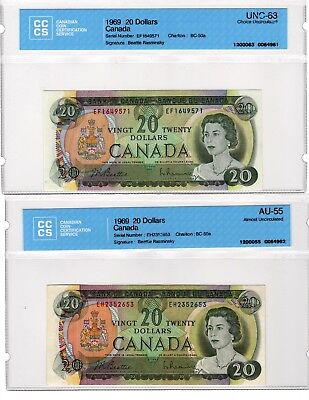 (4X) 1969 Canada $20 Bank of Canada notes