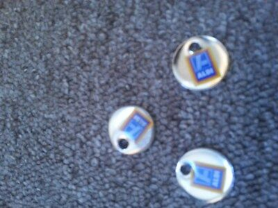 Aldi Supermarket Shopping Trolley Cart Tokens Coins, Three individual tokens