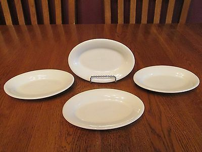 "Four Vintage Off White Restaurant Ware Oval China 7"" Platters Dishes"