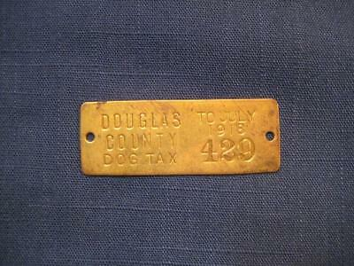 Antique Vintage Oregon 1918  Brass Dog Tax License Tag #429 100 Years Old!
