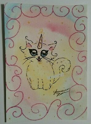 NFAC ACEO Cat ORIGINAL PAINTING watercolor kitty kitten whimsy fantasy unicorn