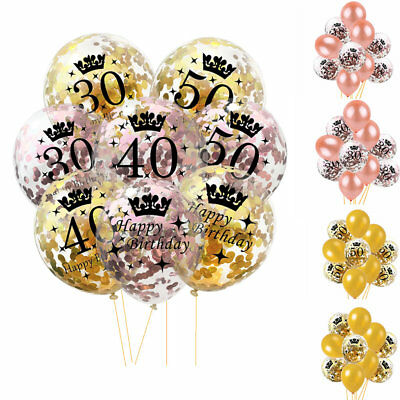 1/18/21/30/40/50 Age Foil Latex Confetti Balloon Happy Birthday Party Rose Gold