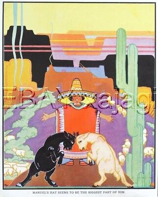 GOAT Mexican Boy Playing Kid Goats, Cute 1930s Print