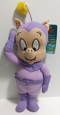 """Duck Dodgers Porky Pig Plush Purple Space Cadet 15"""" Looney Tunes NEW w/ tags"""