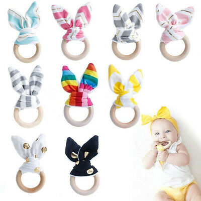 Natural Safety Baby Teething Ring Wooden Bunny Ear Sensory Toy Chewie Teether