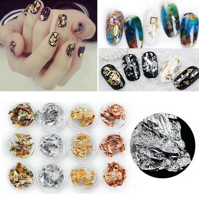 Lots 12pcs Nail Art Gold Silver Metallic Foil Paper Flake 3D Sticker Decoration