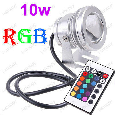 Outdoor 10W LED Pond Light RGB Flood Lamp Bulb+Remote Controller 12V Fountain