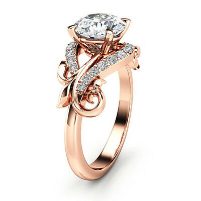 Gorgeous Women Wedding Ring Round Cut White Sapphire Rose Gold Filled Size 6-10