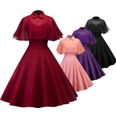 Vintage 50s 60s Retro Style Rockabilly Pinup Housewife Party Swing Dress + Cloak