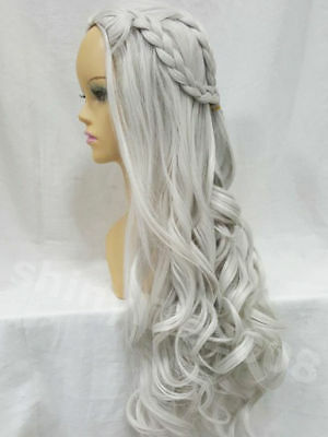 HQ Game of Thrones Daenerys Targaryen Wig Lang Silver&Grey Cosplay WIGS