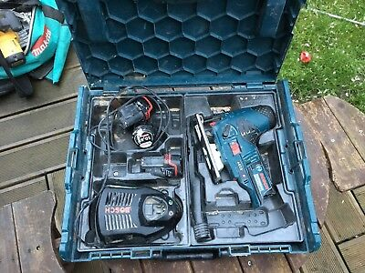 Bosch Gst 10.8v Body grip Jigsaw inc 3 batteries and charger in Bosch case
