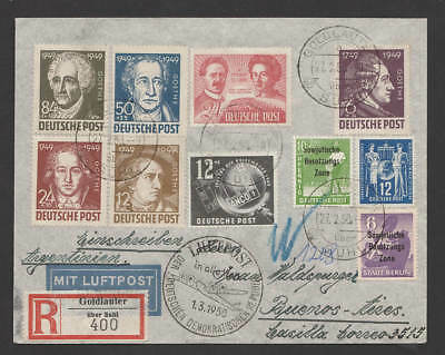 DDR / All. Bes. 1950 Luftpost  R-Brief  ab Suhl / Goldlauter nach Argentinien