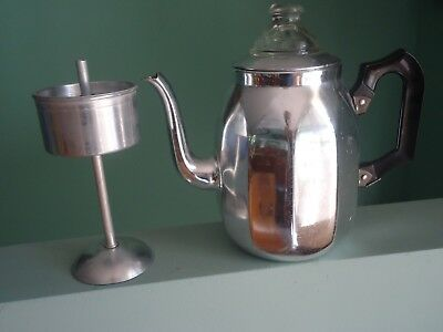 Vintage Retro Anodised Aluminium Towerbrite Coffee Percolator England Chrome