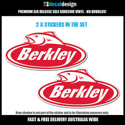 Berkley Fishing Decals x 2 stickers for boat tackle box tinnie 4WD kayak #B022