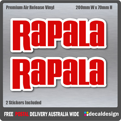 Rapala Stickers x2 for 4X4 Fishing Boat Tackle Box Camping Fridge Kayak #R004