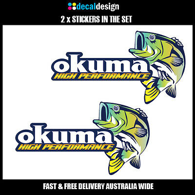 OKUMA Sticker x2 decals to suit Fishing Boat Tacklebox tinnie graphics