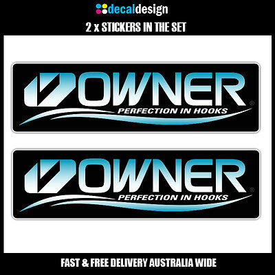 OWNER HOOKS x2 Decals 22cm Printed Stickers to suit Fishing Boat Tinnie Tackle