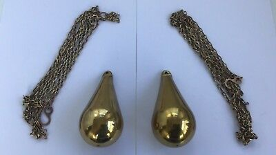 2 X Unique Pear Shaped Brass Clock Chain Weights With Chains