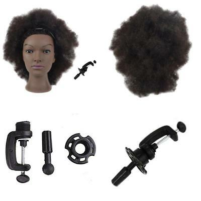 100% EchtHaar Afro Friseure Training Head Übungskopf Trainingsköpfe Mannequin