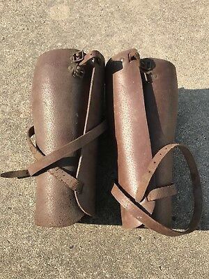 WW1 Army Leather Gaiters Leg Calf Protectors Spats Pair