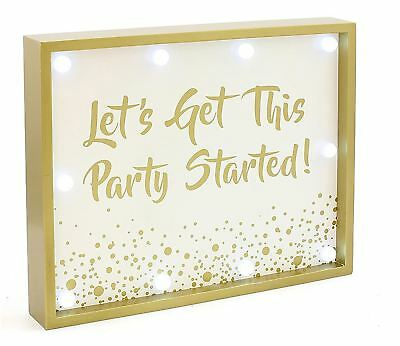 Gold Edition Light Up LED Wooden Wall Plaque Lets Get This Party Started