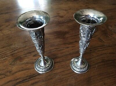 Pair Of 19th Century Indian Silver Vases