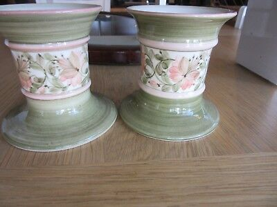 pair of Vintage Jersey Pottery Candlestick Holders / 1970's Jersey Pottery